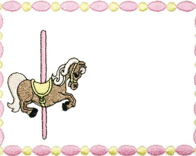 Merry go round embroidered quilt label to customize with your personal message