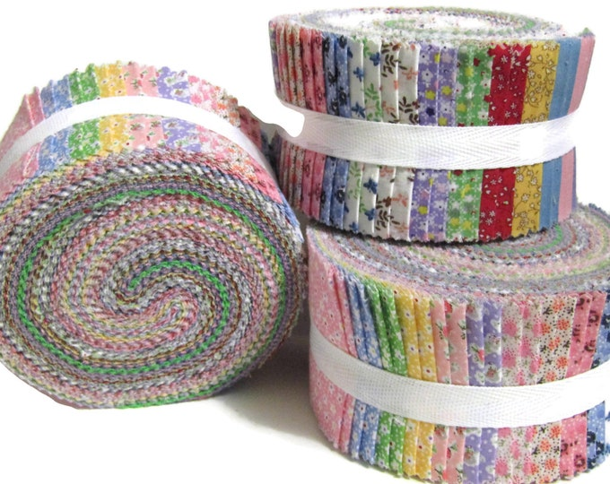 "Jelly roll, 1930s Reproduction 40 strips x 2.5"" wide 100% Cotton"