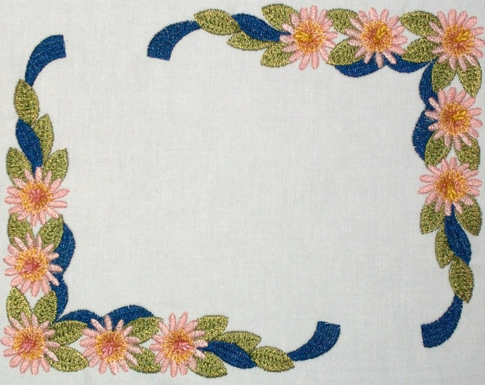 Floral ribbon swag corners embroidered quilt label, to customize with your personal message