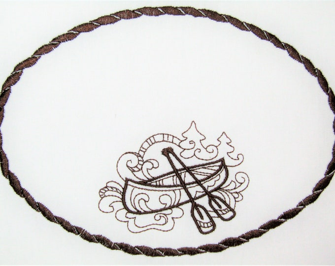 Canoe embroidered quilt label to customize with your personal message