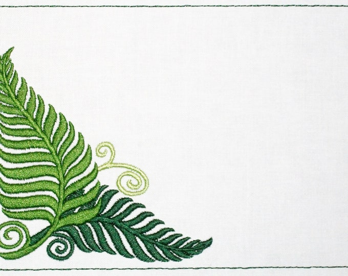 Ferns corner embroidered quilt label to customize with your personal message