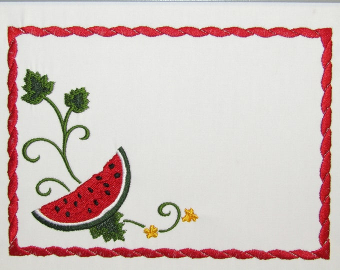 Watermelon embroidered quilt label to customize with your personal message
