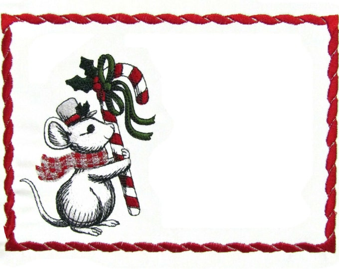 Christmas Mouse embroidered quilt label to customize with your personal message