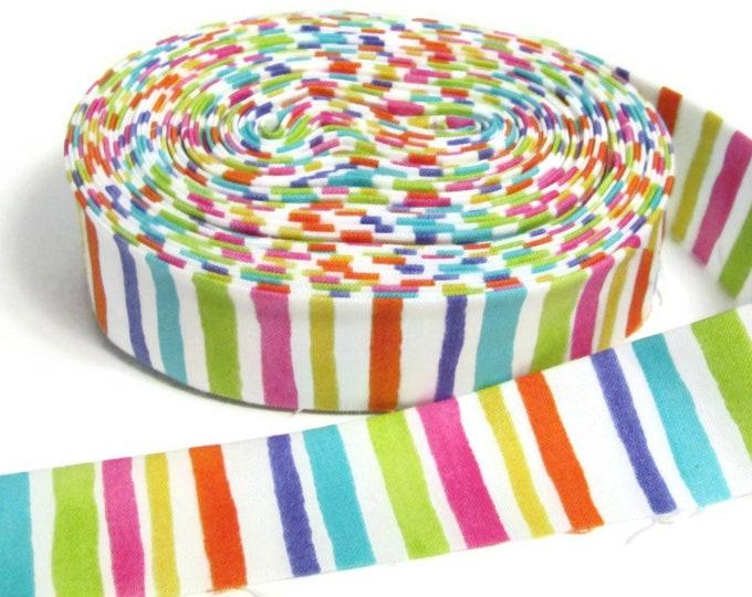 Quilt Binding - Straight grain Bright stripes