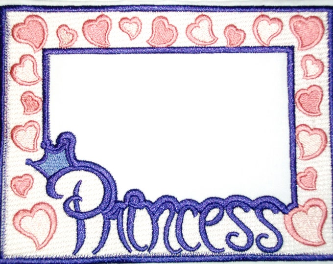 Princess hearts embroidered quilt label, to customize with your personal message