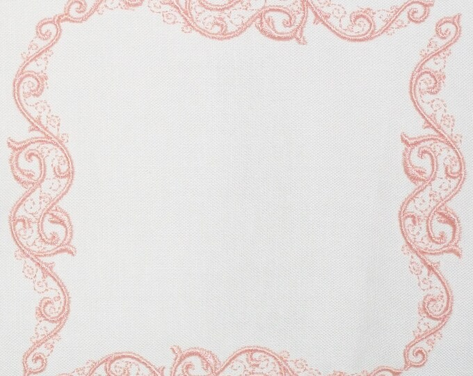 Eleagant peach scrollwork frame quilt label to customize with your personal message