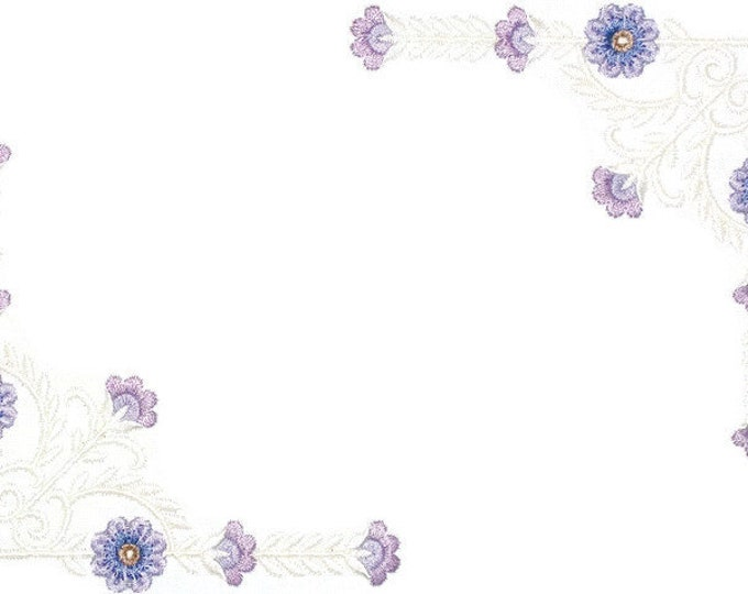 Purple floral scrollwork quilt label to customize with your personal message