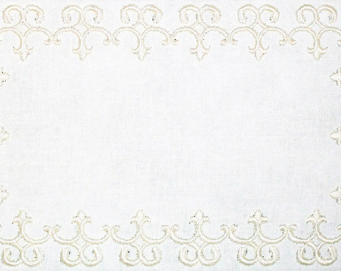Filigree scroll embroidered quilt label, to customize with your personal message
