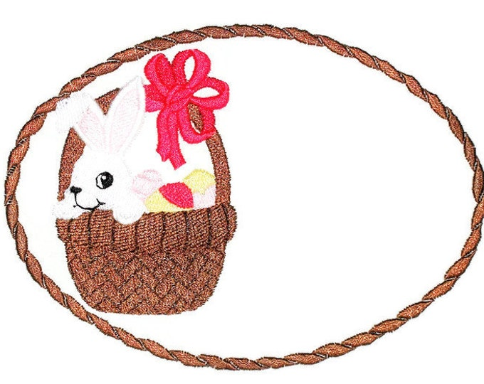 Easter bunny basket Embroidered quilt label to customize with your message.