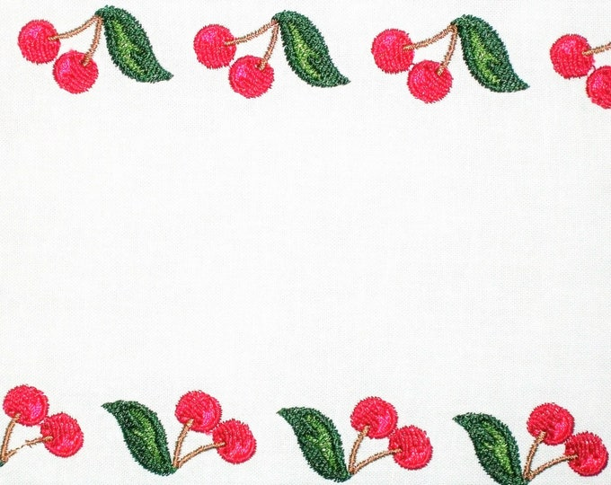 Red cherry framed embroidered quilt label, to customize with your personal message