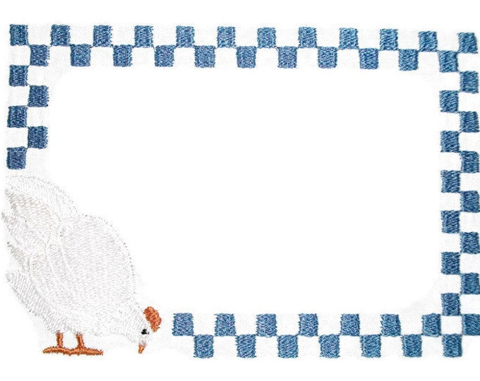 Farm hen checkered embroidered quilt label, to customize with your personal message