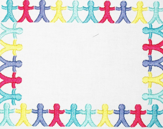 Colourful paper dolls embroidered quilt label to customize with your personal message