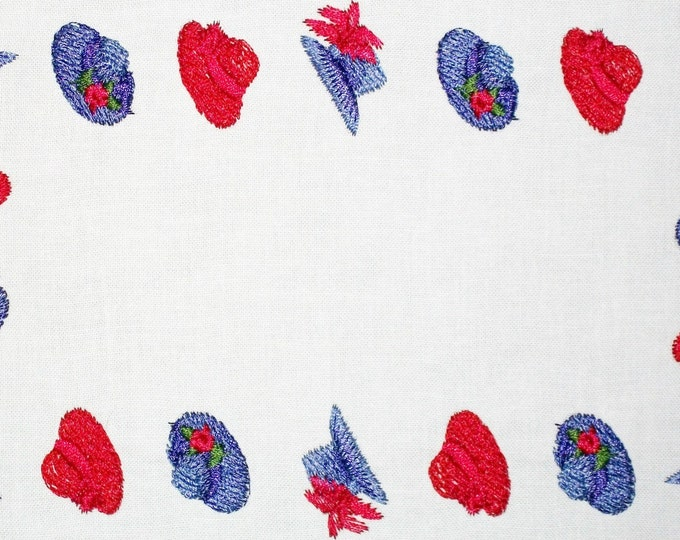 Red Hat Lady embroidered quilt label, to customize with your personal message
