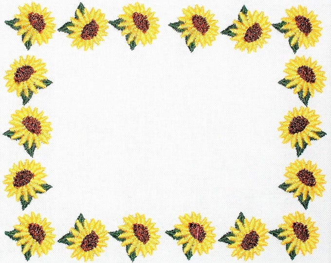 Yellow sunflowers embroidered quilt label to customize with your personal message