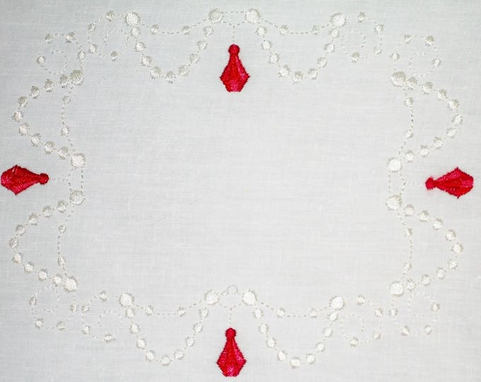 Rubies & Pearls Embroidered Quilt Label to customize with your personal message