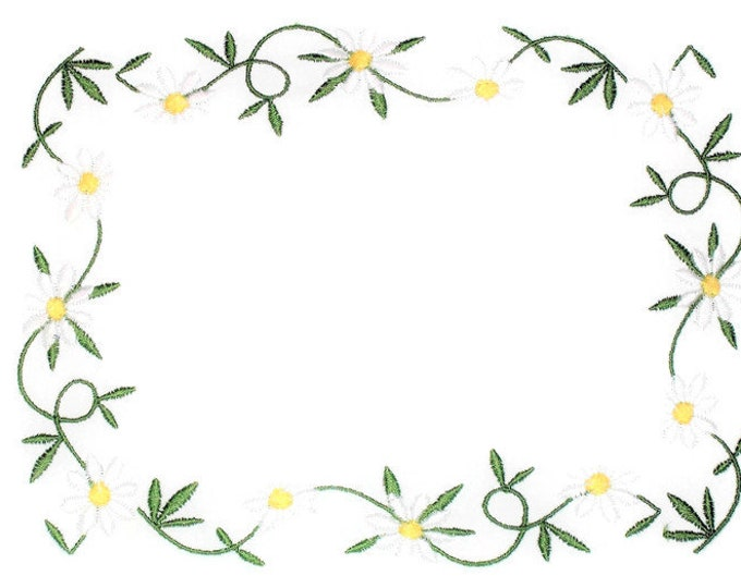 Daisy embroidered quilt label to customize with your personal message