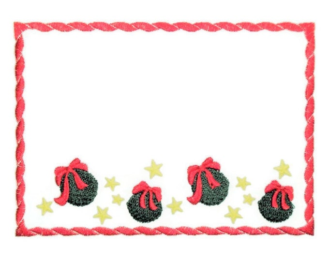 Christmas Balls embroidered quilt label to customize with your personal message