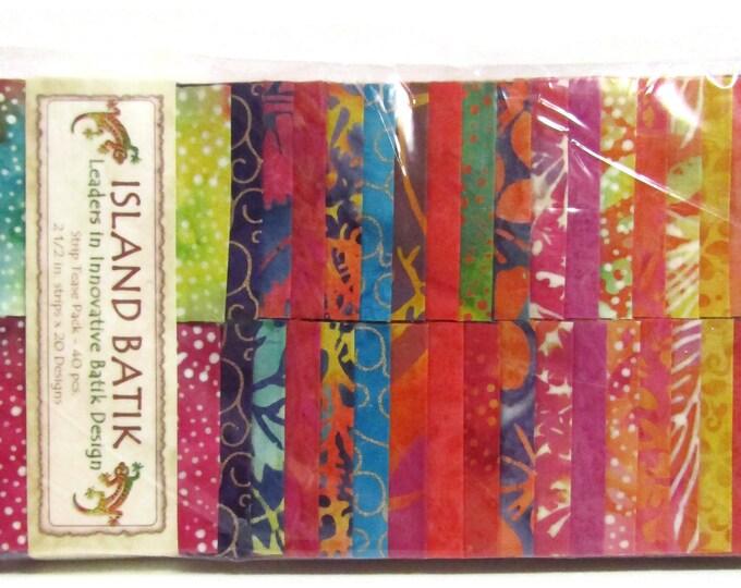 """Island Batik Jelly roll 40 strips x 2.5"""" wide 100% Cotton"""