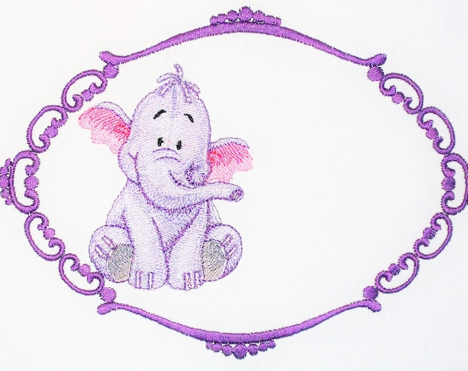 Heffalump Purple Embroidered Quilt Label to customize with your personal message