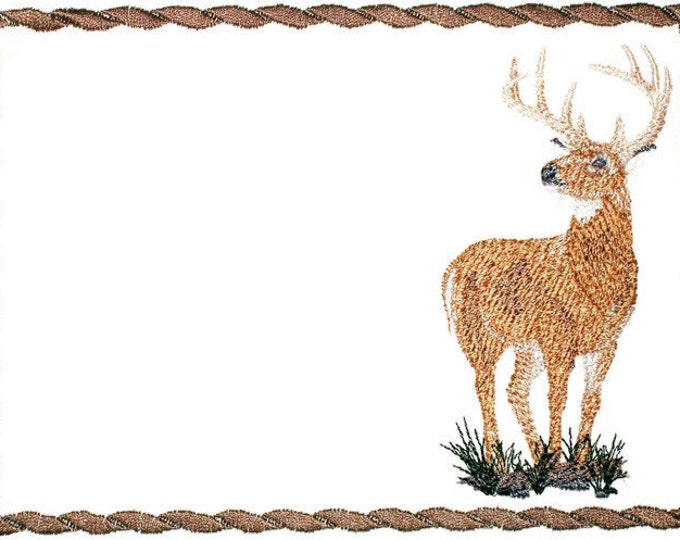 Buck deer  embroidered quilt label to customize with your personal message