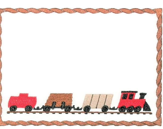 Choo Choo Train embroidered quilt label to customize with your personal message