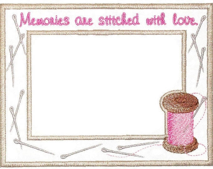 Sewing thread & needle themed embroidered quilt label to customize with your personal message