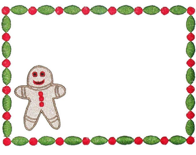 Gingerbread Man embroidered quilt label to customize with your personal message