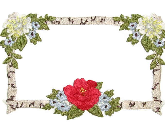 Floral birch floral frame embroidered quilt label to customize with your personal message