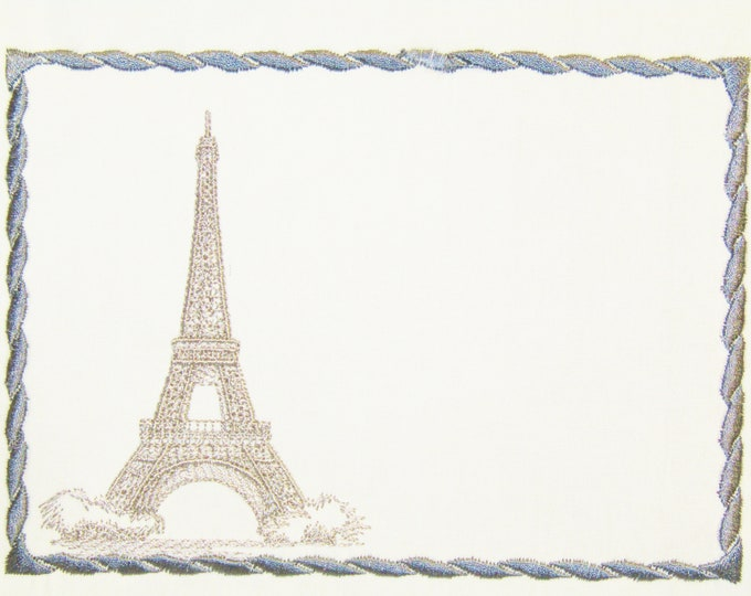 Eiffel Tower embroidered quilt label to customize with your personal message
