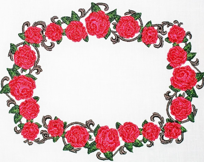 Red Rose wreath floral Embroidered Quilt Label to customize with your personal message