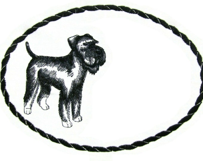 Schnauzer sketch embroidered quilt label to customize with your personal message