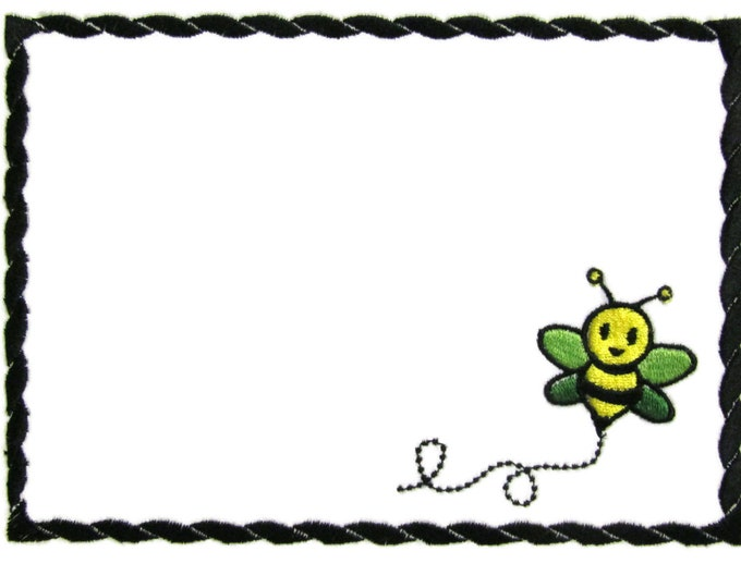 Bumble bee embroidered quilt label to customize with your personal message
