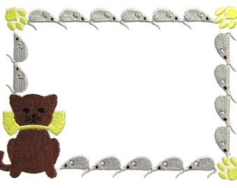 Cat & Mouse embroidered quilt label to customize with your personal message
