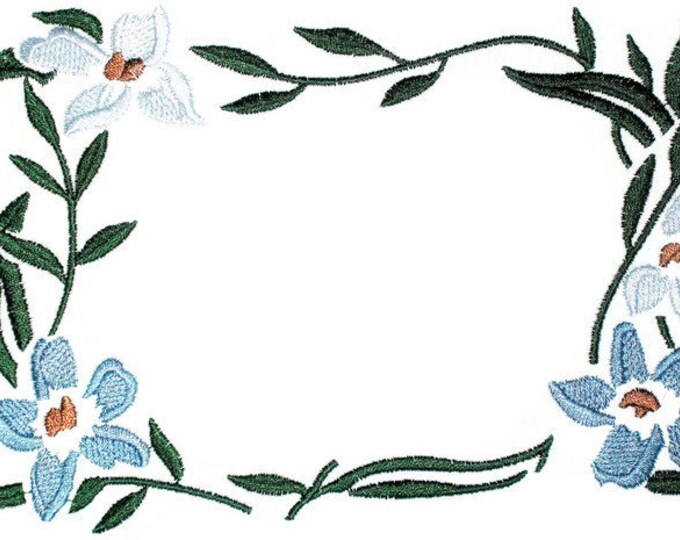 Floral framed embroidered quilt label, to customize with your personal message