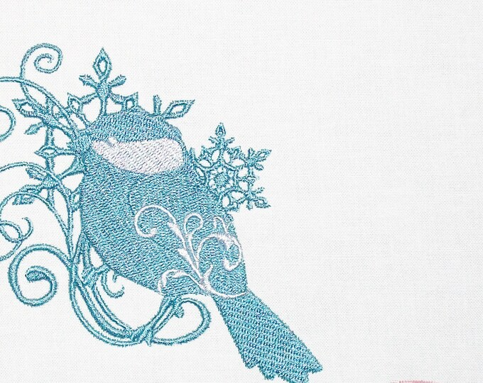 Chickadee scrollwork motif embroidered quilt label to customize with your personal message