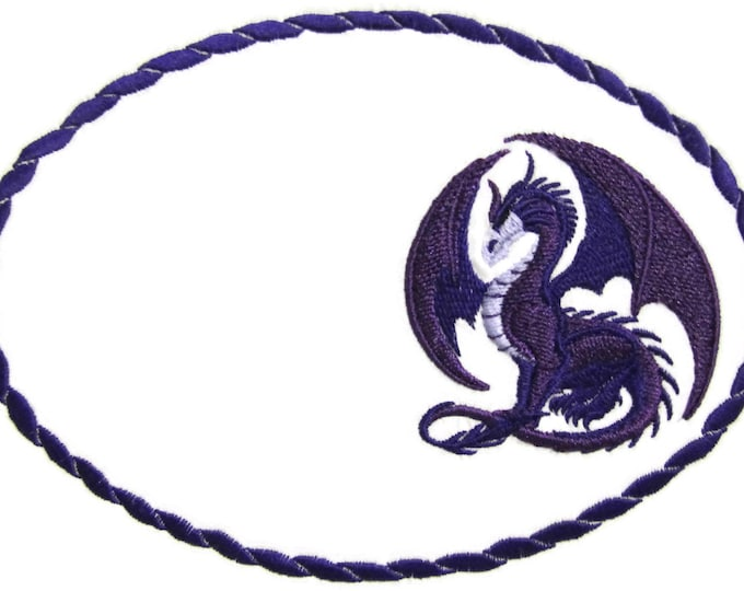 Dragon embroidered quilt label to customize with your personal message