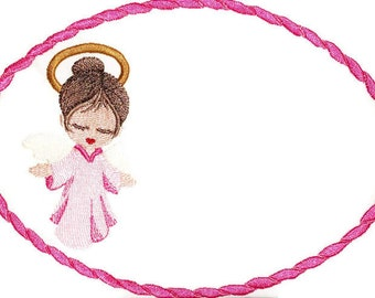 Heavenly Angel embroidered quilt label, to customize with your personal message