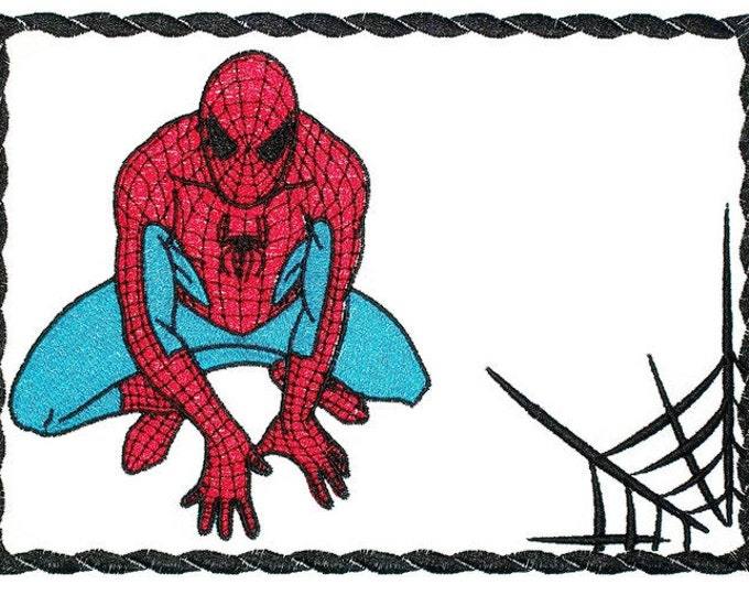 Spiderman & Web Embroidered Quilt Label to customize with your personal message