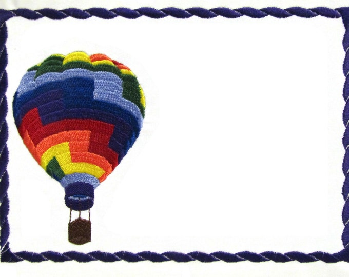 Hot Air Balloon embroidered quilt label to customize with your personal message