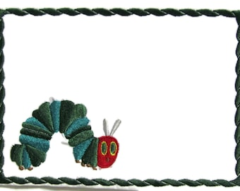 Caterpillar embroidered quilt label to customize with your personal message