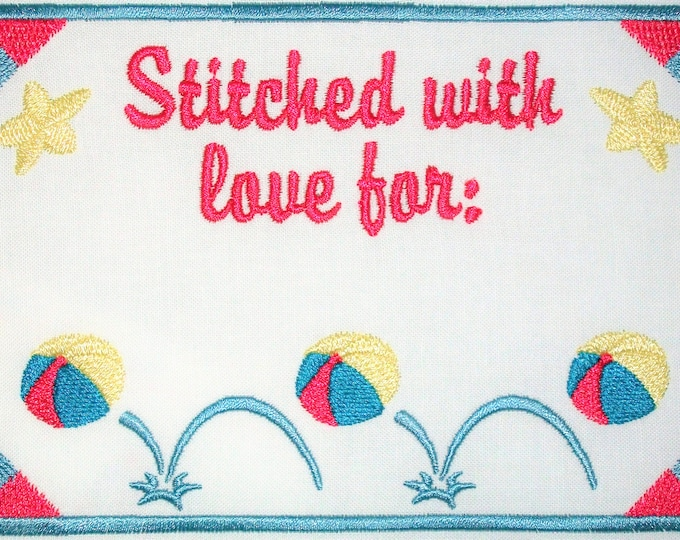 Bouncing ball embroidered quilt label, to customize with your personal message