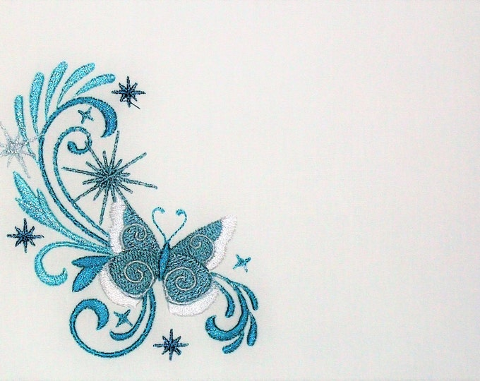 Stunning Blue butterfly motif embroidered quilt label to personalize with your own message