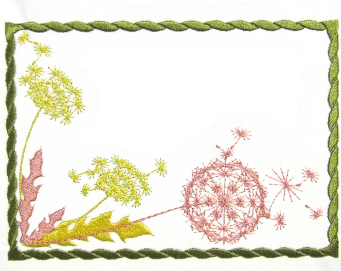 Dandelion embroidered quilt label to customize with your personal message