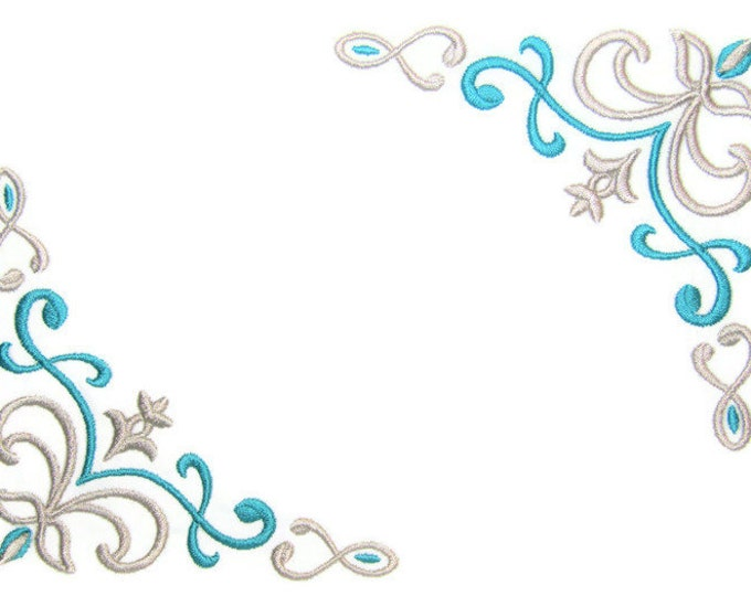 Teal & Grey Filigree Embroidered quilt label Christmas to customize with your personal message