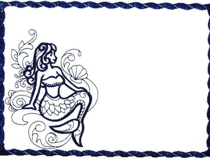 Mermaid Doodle Embroidered Quilt Label to customize with your personal message