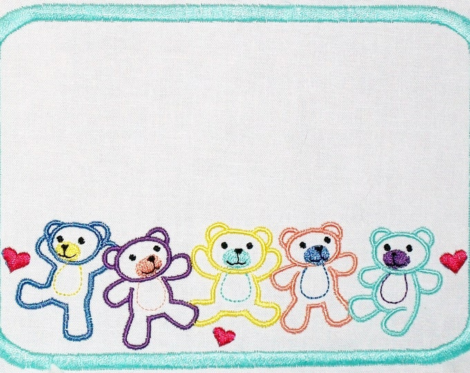 Teddy Bear Embroidered Quilt Label to customize with your personal message