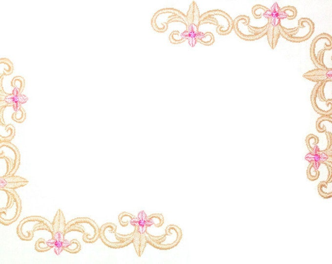 Fleur de Lis scrollwork embroidered quilt label, to customize with your personal message
