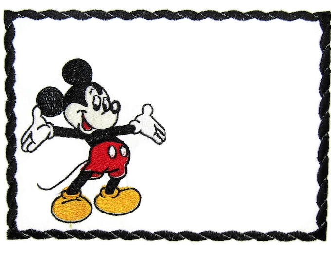 Mickey mouse embroidered quilt label to customize with your personal message
