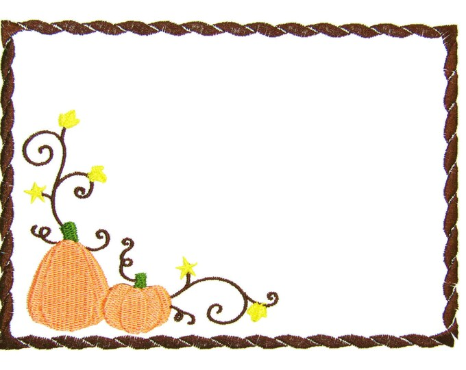 Fall Pumpkins embroidered quilt label to customize with your personal message