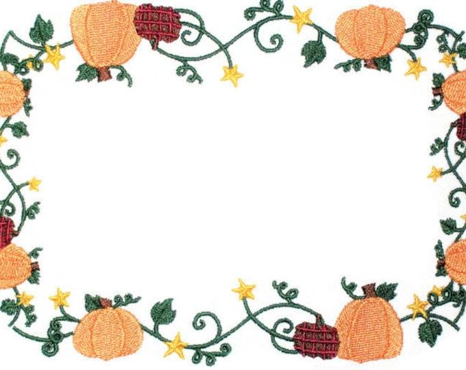 Autumn Pumpkin Vines embroidered quilt label, to customize with your personal message